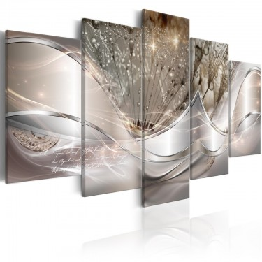 Obraz  Świecące dmuchawce (5częściowy) beżowy szeroki