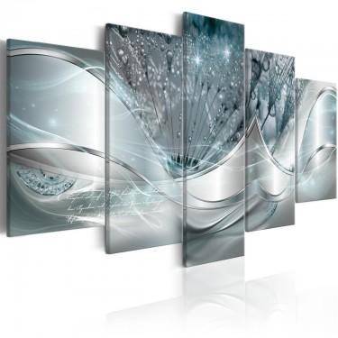 Obraz  Świecące dmuchawce (5częściowy) niebieski szeroki