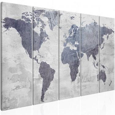 Obraz  Betonowa mapa świata (5częściowy) wąski