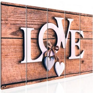 Obraz  Drewniane literki (5częściowy) wąski