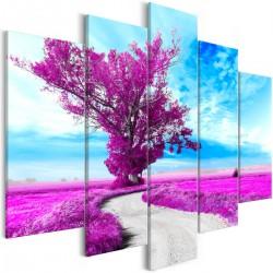 Obraz  Drzewo przy drodze (5częsciowy) fioletowy