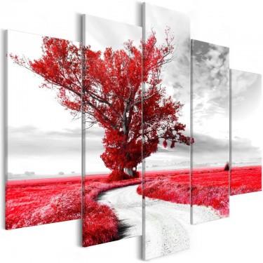 Obraz  Drzewo przy drodze (5częsciowy) czerwony