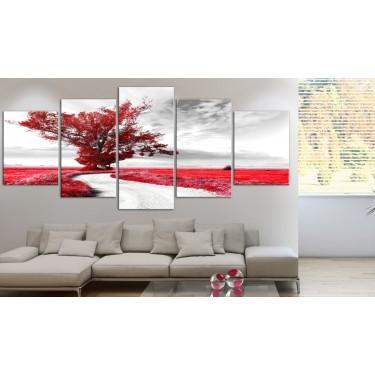 Obraz  Samotne Drzewo (5częsciowy) czerwony