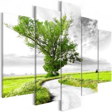 Obraz  Drzewo przy drodze (5częsciowy) zielony