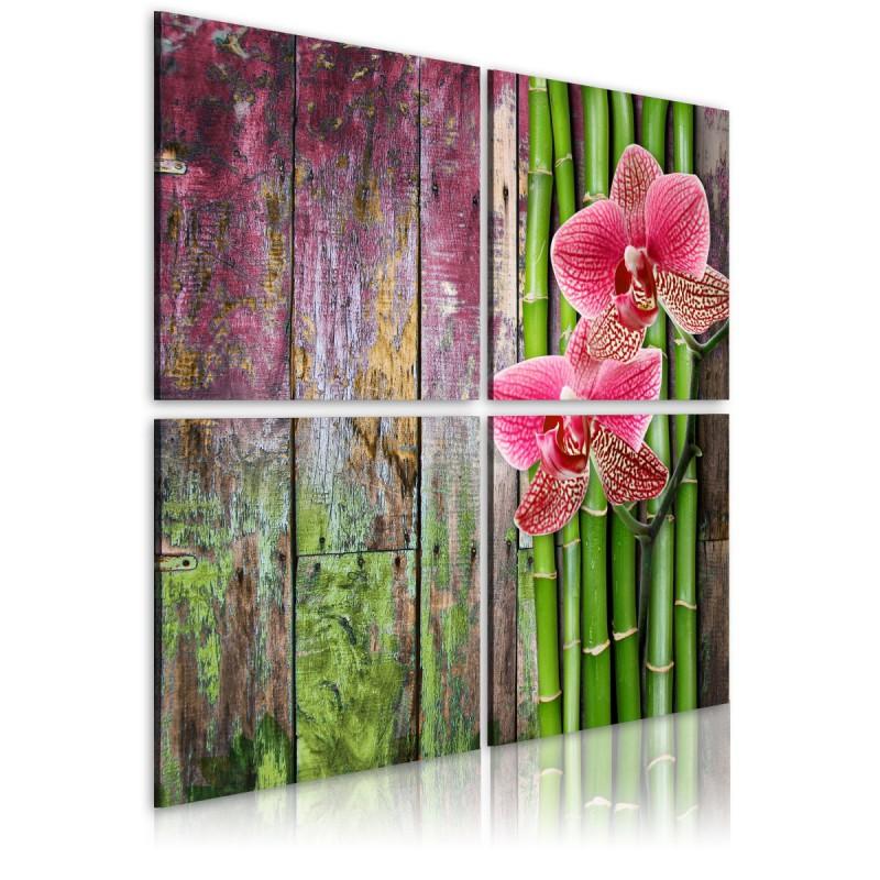 Obraz  Bambus i orchidea