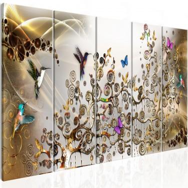 Obraz  Taniec kolibrów (5częściowy) złoty wąski