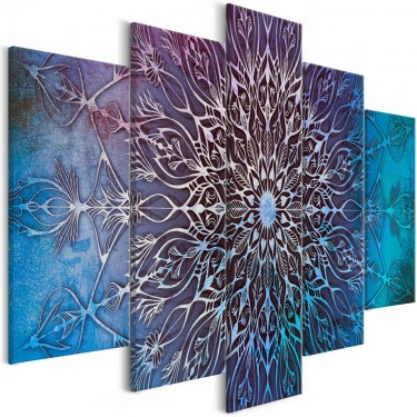 Obraz  Centrum (5częściowy) szeroki niebieski