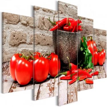 Obraz  Czerwone warzywa (5częściowy) cegła szeroki