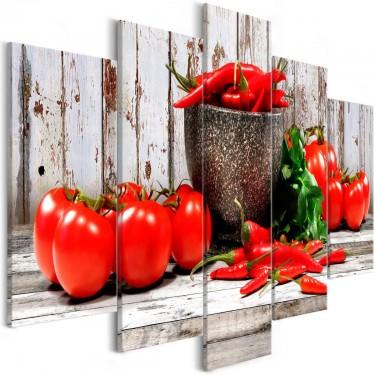 Obraz  Czerwone warzywa (5częściowy) drewno szeroki