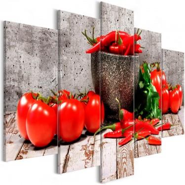 Obraz  Czerwone warzywa (5częściowy) beton szeroki
