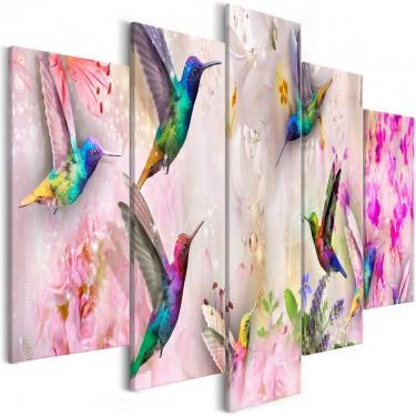 Obraz  Kolorowe kolibry (5częściowy) szeroki różowy