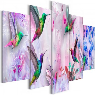 Obraz  Kolorowe kolibry (5częściowy) szeroki fioletowy