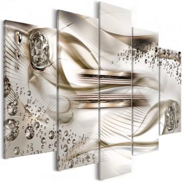 Obraz  Podwodna harfa (5częściowy) szeroki brązowy