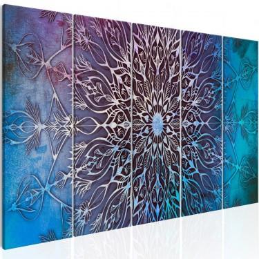 Obraz  Centrum (5częściowy) wąski niebieski