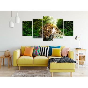 Obraz  Leżący lampart (5częsciowy) szeroki zielony