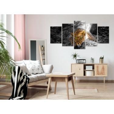 Obraz  Leżący lampart (5częsciowy) szeroki szary