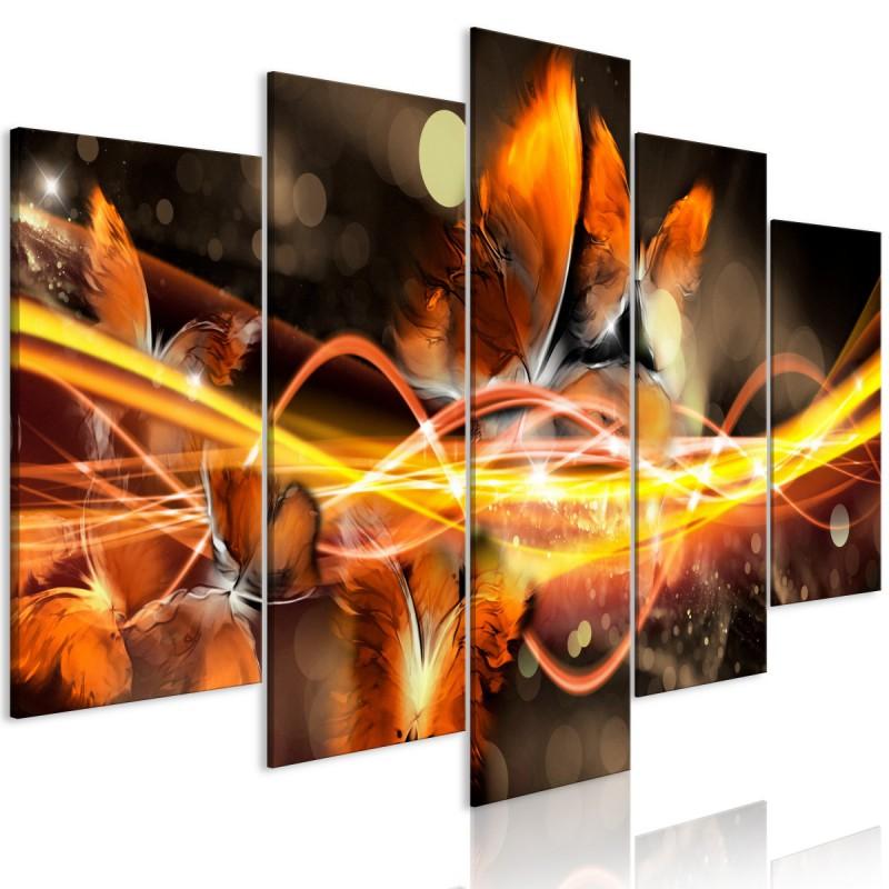 Obraz  Rój motyli (5częściowy) szeroki pomarańczowy