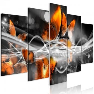 Obraz  Rój motyli (5częściowy) szeroki szary