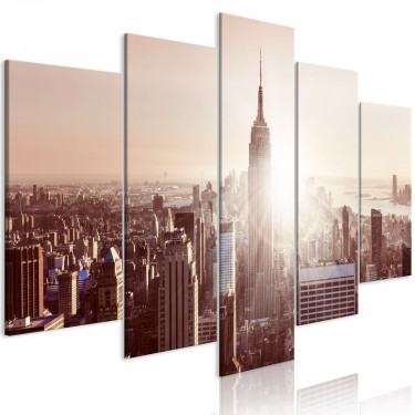 Obraz  Słońce nad Manhattanem (5częściowy) szeroki brązowy