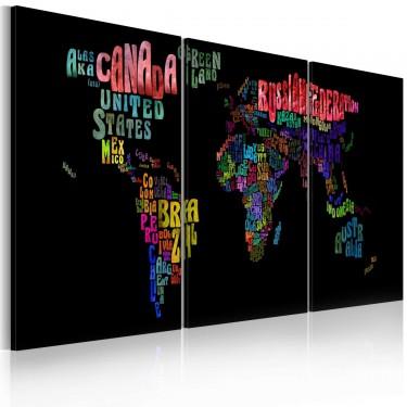 Obraz  Mapa świata  tekst