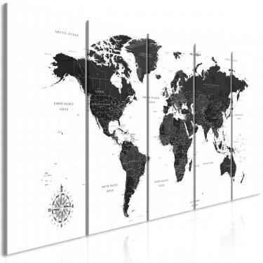 Obraz  Czarnobiała mapa (5częściowy) wąski