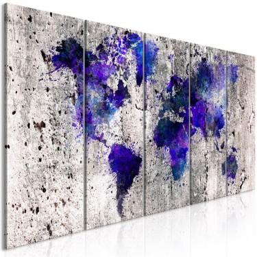 Obraz  Mapa świata kleksy (5częściowy) wąski