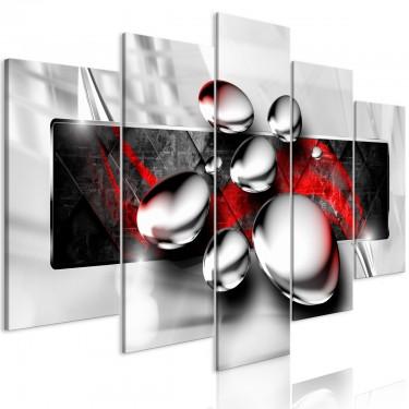 Obraz  Błyszczące kamienie (5częściowy) szeroki czerwony