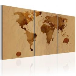Obraz Mapa świata w kolorze kawy