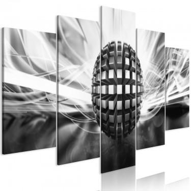 Obraz  Metalowa kula (5częściowy) szeroki czarnobiały