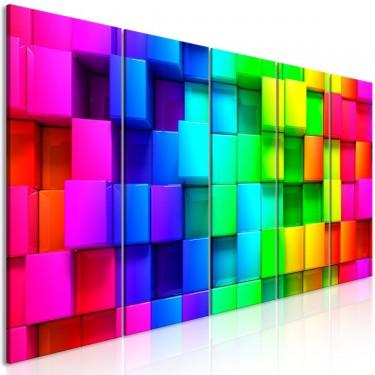 Obraz  Kolorowe sześciany (5częściowy) wąski