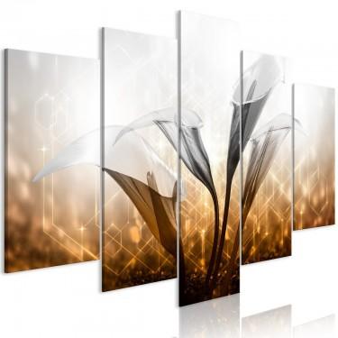 Obraz  Kwiecisty kwartet (5częściowy) szeroki złoty