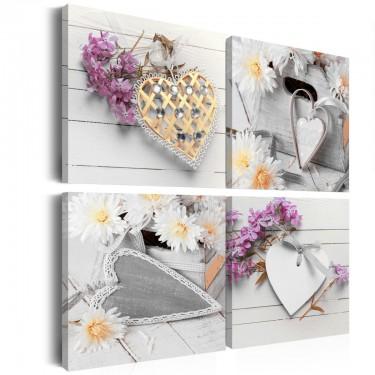 Obraz  Serca i kwiaty