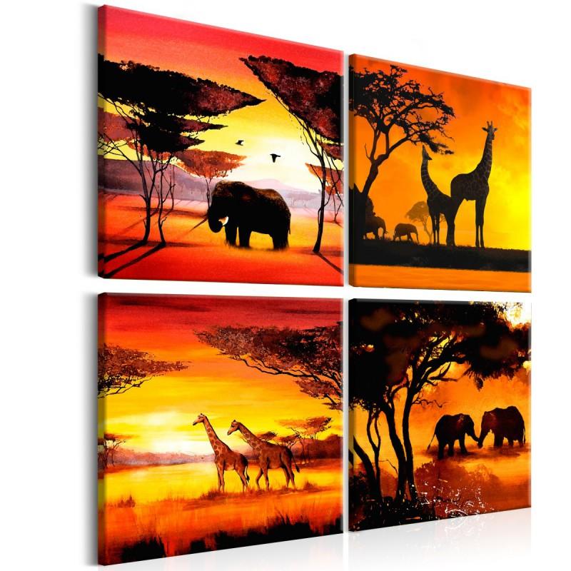 Obraz  Zwierzęta Afryki (4częściowy)
