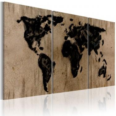 Obraz  Atramentowa mapa świata