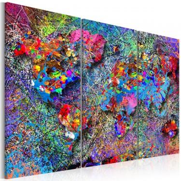 Obraz  Mapa świata Kolorowe kłębowisko