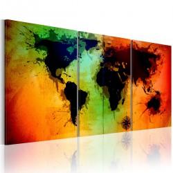 Obraz Mapa świata kolorowe oceany