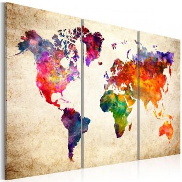 Obraz  Mapa świata w akwareli