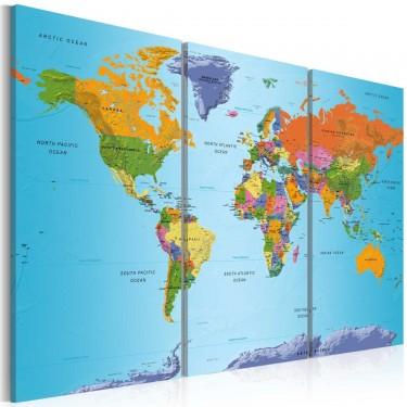 Obraz  Mapa świata Kolorowa nuta