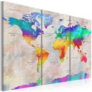 Obraz  Mapa świata Tęczowy gradient