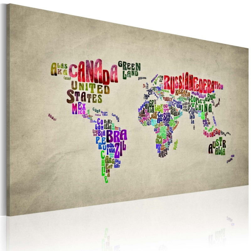 Obraz  Mapa świata  nazwy państw w języku angielskim