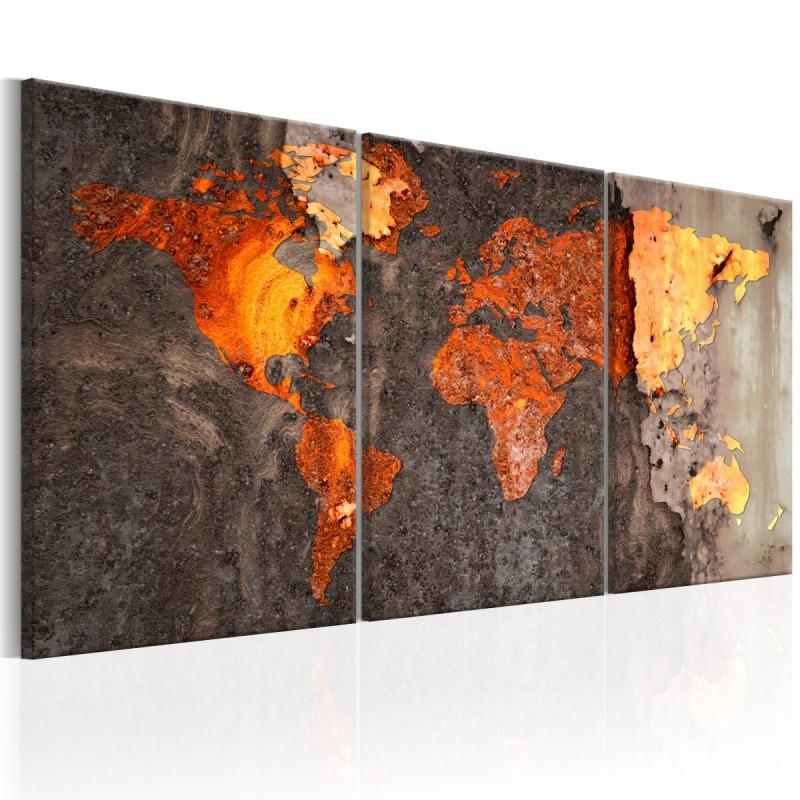 Obraz  Mapa świata Rdzawy świat