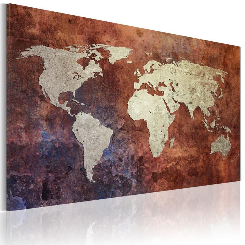 Obraz  Rdzawa mapa świata