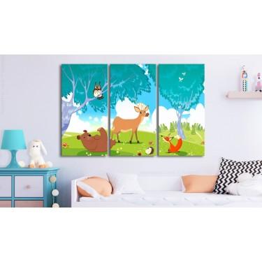 Obraz  Przyjazne zwierzęta (3częściowy)