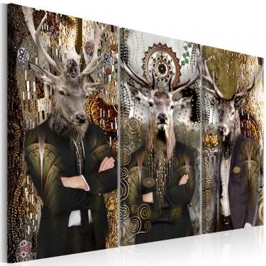 Obraz  Zwierzęce trio (3częściowy) brązowy