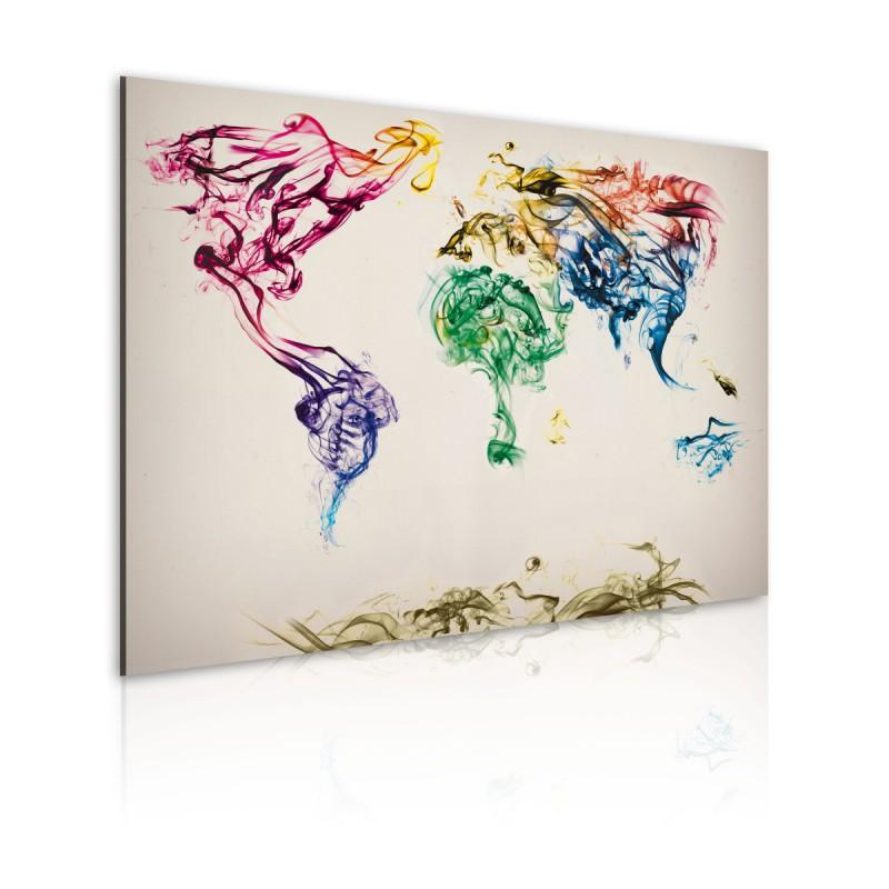 Obraz  Mapa świata  barwne smugi dymu