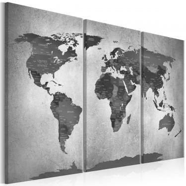 Obraz  Mapa na betonie (3częściowy)