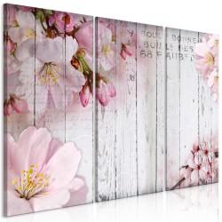 Obraz  Kwiaty na deskach (3częściowy)
