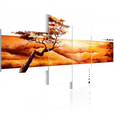 Obraz - Pomarańczowe chmury nad sawanną