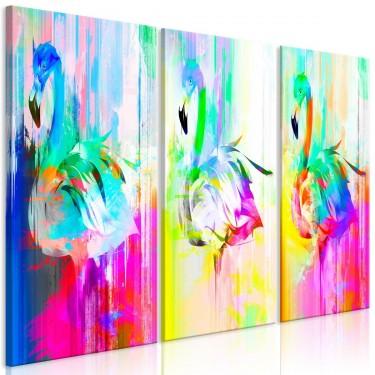 Obraz  Kolorowe flamingi (3częściowy)
