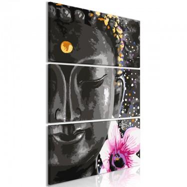 Obraz  Budda i kwiat (3częściowy) pionowy